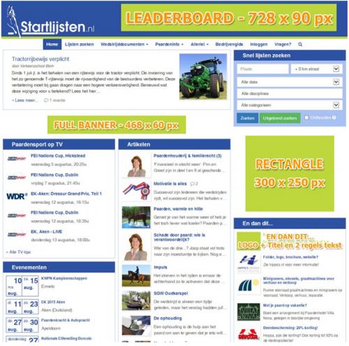 Advertentie-mogelijkheden op Startlijsten.nl